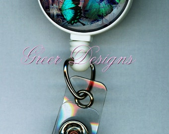 Badge Holder ID Butterfly Blue Steampunk Teacher Designer Gift Retractable  Reel Clip