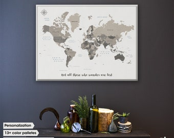 Travel map with quote /  World map canvas / World map pin board / Push Pin Travel Map / Travel Gift / World map wall art / personalized gift