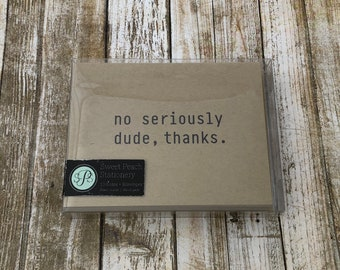Man Thank You Notecard - Masculine Serious Dude Thanks - Set of 10