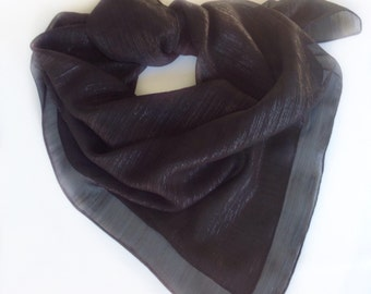 Black Square shawl, Fashion silk chiffon scarf,  Pool Party Cover up Scarf, Shimmering Black Scarf, Mourning Scarves, Gift for Goth Friend