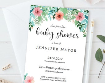 Floral Baby Shower Invitation Template Download Printable Baby Shower Invites Baby Shower Invitation Gender Neutral Flower Baby Shower FG1