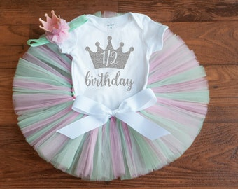 Pastel half birthday outfit girl 'Sylvia' half birthday outfit girl, pink and mint tutu outfit, half birthday outfit, 6 month tutu set girl