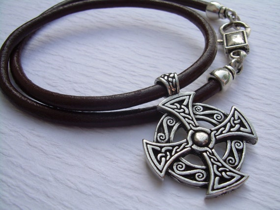 Cross necklace celtic cross leather necklace mens necklace like this item mozeypictures Choice Image