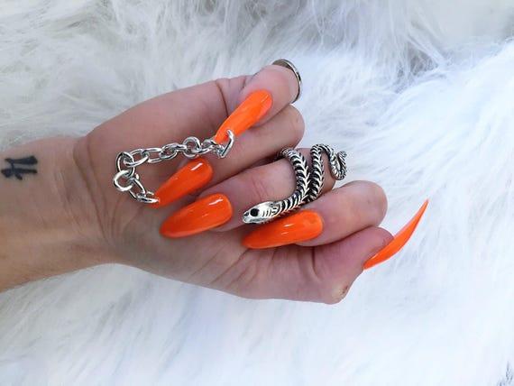 Jail Nailz set of 10 Neon Orange Chain Nails