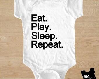 Eat Play Sleep Repeat - baby onesie, bodysuit, baby shower gift, funny baby gift, baby boy onesie, baby girl onesie, baby bodysuit