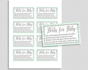 Mint Green Baby Shower Book Request, Printable Mint & Silver Glitter Confetti Invite Insert, Neutral, Books for Baby, INSTANT DOWNLOAD