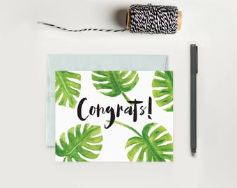 Palm Leaf Congrats Greeting Card; Congratulations Card; Graduation Card