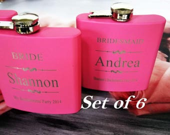 6 Pink Bridesmaid Flask ~With Free Engraving~