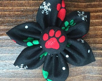 Pawprints and Snowflakes Holiday Flower Hair Clip
