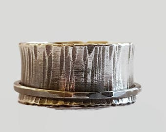 Sterling silver fidget ring - spinning ring - spinner ring - meditation ring - hammered - spinner ring for women - lesbian wedding ring
