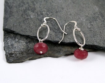 Red Ruby Bead Sterling Silver Drop Earrings