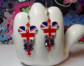 Mickey Mouse Head Union Jack British Flag Dangle Earrings