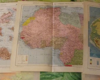 5 old maps and geology and printing Photos 1951 Africa Equatorial Algiers Tunis Oran Madagascar Congo Dakar Senegal