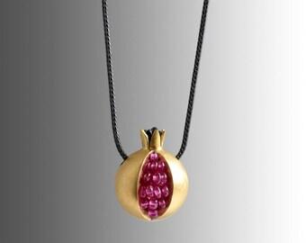 Pomegranate Necklace - 18K gold pink sapphire necklace - Gemstone Gold Necklace - Tiny Pomegranate Gold Necklace - gold pomegranate jewelry