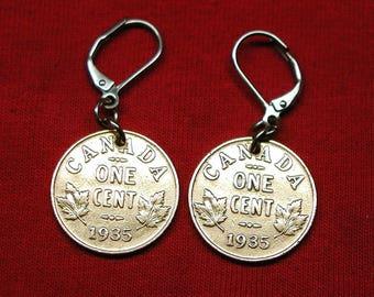 1935 real Canadian 1935 as earrings