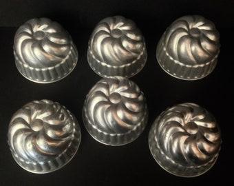 Set of 6 Vintage Aluminum Individual Jello Molds