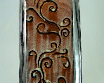 Hand-Built Platter, Red-Brown with Black Spirals