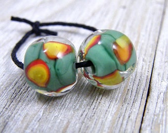 Handmade Lampwork Beads - Earring Pairs ~ Gypsy Dot Pesha~Southwest-Boho-Lampies