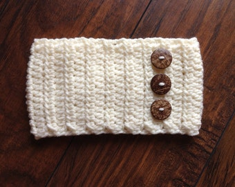 Womens Button Ear Warmer, Women's Head Wrap, Women's Head Band With Wooden Buttons - ANY COLOR