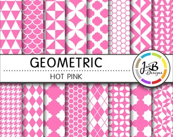 Geometic Digital Paper, Hot Pink, Pink, Pink and White, Tribal, Digital Paper, Digital Download, Scrapbook Paper, Digital Paper Pack