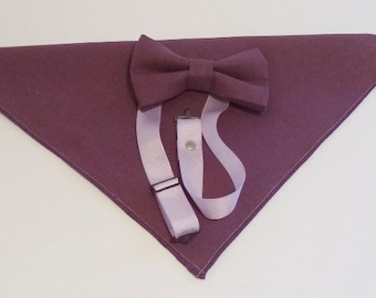 Dusty Plum bow tie and pocket square combo