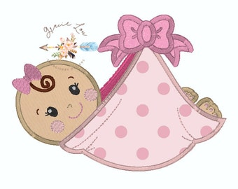 Baby embroidery design, Baby applique design, new born baby embroidery design, little bundle, 2 sizes 5x7 and 6x10