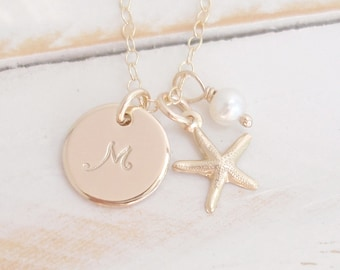SET of 3, Bridesmaid Necklace, 14k Gold Filled, Personalized, Initial Disc Necklace, Beach Wedding, Starfish, Pearl Handmade/Also in Silver