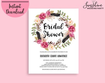 Bridal Shower Invite Template Bridal Shower Invitation Printable Bridal Shower DIY Bridal Shower Invitation Floral Invitation Editable PDF