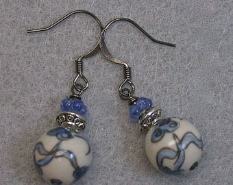 Vintage Chinese Porcelain Bead Blue White Flower Dangle Drop Earrings ,Vintage 1950s German Blue Glass Flowers,Silver Ear Wires