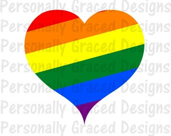 SVG, DXF, EPS Cut file Gay Pride svg, Rainbow Heart Svg, Heart svg, silhouette file, cameo file, Cricut File, Instant Download, Love Wins
