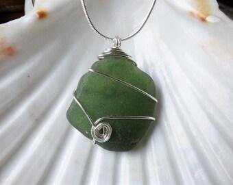 Irish sea glass necklace, green sea glass, wire wrapped seaglass pendant