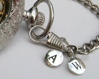 1Pc Sterling Silver Letter Charm - Personalized Alphabet Charm - Personalized Pocket Watch Letter Charm - Item SSSD A-Z