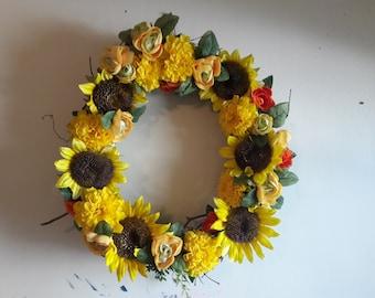 "Cheerful Sunflower Wreath 18"" Diameter"
