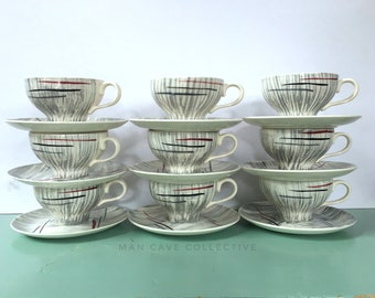 9 Cups & 12 Saucers Atomic Abstract Freeform Prim Rose National Brotherhood of Operative Potters Brush Strokes Grey Red Black Vintage 1940's