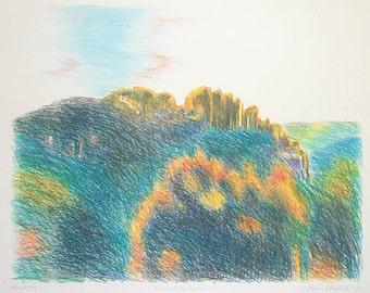 Seneca Rocks Sunrise original monotype drawing print