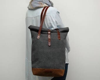 rolltop Tote bag waxed canvas, charcoal/brown color ,with leather handles and closures,hand wax