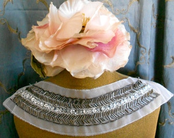 Gunmetal Gray Beaded Sequined Appliques