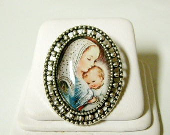 Madonna and child brooch/pin - BR02-073