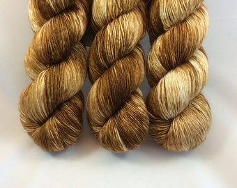 Hand Dyed Yarn - Hand Painted - Cafe Au Lait - Merino Silk Single Ply - Dyed to Order