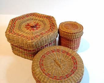 Three Sweet Grass Baskets Small Storage Containers