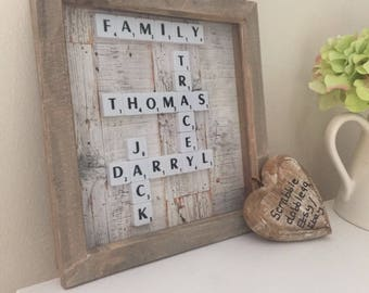 Scrabble Art Personalised Family Picture Frame great present or Gift wall art Graduation Gift