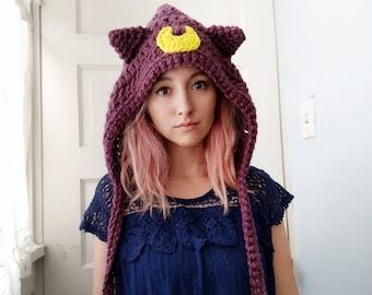 sailor moon luna hat - winter hood - hat hood - winter hat - cat hat - cat hood - cat ears hood - cosplay - halloween costume - luna artemis