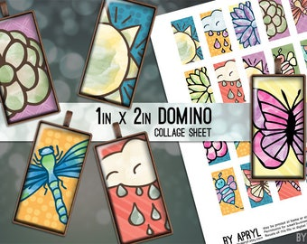 1x2 Digital Collage Sheet Domino Spring Bright Colorful 1x2 inch Collage Sheet for Pendants Magnets Scrapbooking Journaling JPG