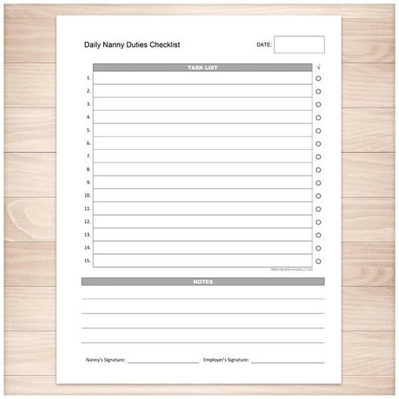 Printable Nanny Duties Checklist Daily Task List Nanny