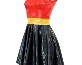 Black Holographic Sleeveless Fit and Flare Skater Dress with Red Sparkly Jewel Bodice and Gold Sparkly Jewel Waistband Lycra Spandex 154842