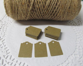 100 Kraft Tags - Thank You Tags - Price Tag - Jewelry Tag - Merchandise Tags - Now Offering Personalized Tags with or without Hemp Twine 8""