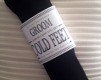 Cold feet card etsy fabulous grooms wedding gift from bride black designer dress socks with label just in case junglespirit Choice Image