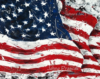 USA Flag, Red White Blue art, American flag, office wall art, Patriotic art,  Metal prints, Pittsburgh Artist,  by Johno Prascak