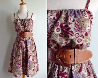 Vintage 70's Tribal Ethnic Print Sun Dress XS or S