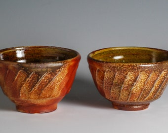 Two Small Faceted Soda Fired Pottery Bowls / Condiments / Cat Food Bowls